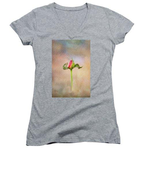 Alone Women's V-Neck T-Shirt (Junior Cut) by Joan Bertucci