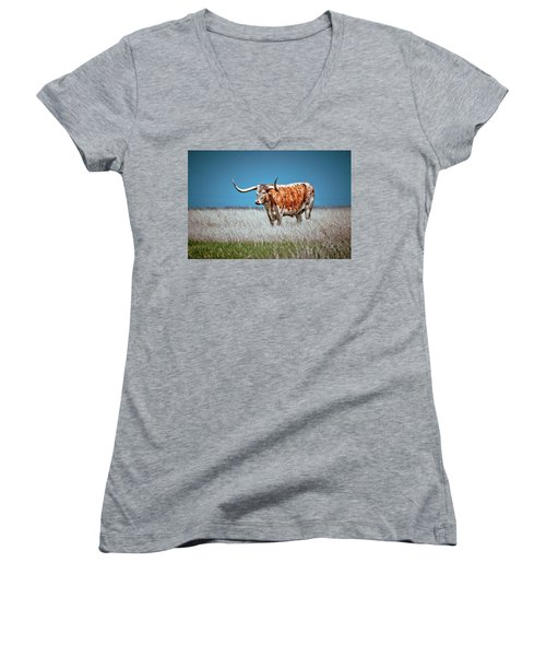 Women's V-Neck T-Shirt (Junior Cut) featuring the photograph Alone On The Trail by Linda Unger