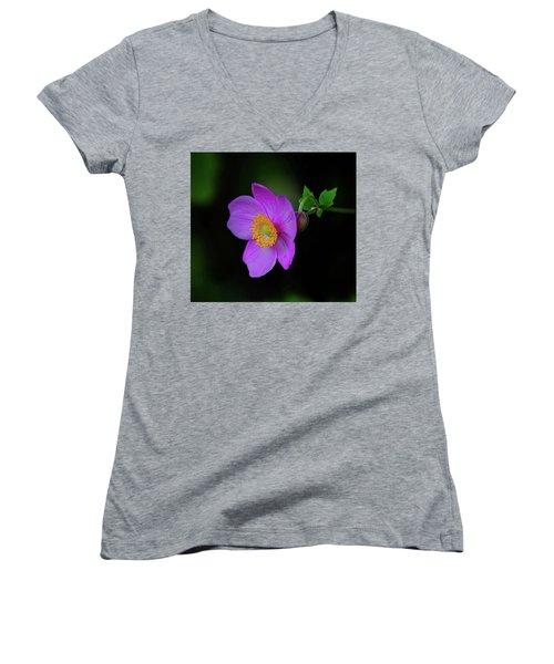 Anenome Purple Women's V-Neck T-Shirt (Junior Cut) by Ronda Ryan