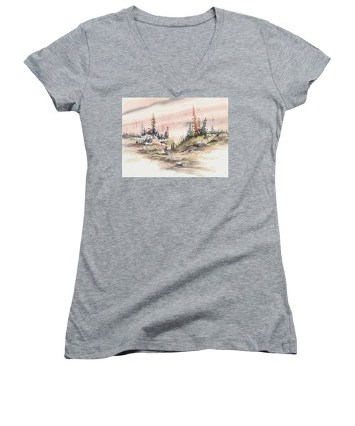 Alone Together Women's V-Neck T-Shirt (Junior Cut) by Sam Sidders