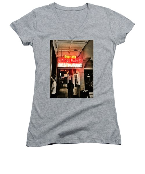 Women's V-Neck T-Shirt (Junior Cut) featuring the photograph Along Bourbon Street - New Orleans by Glenn McCarthy Art and Photography