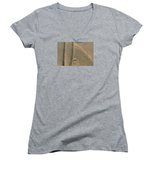 Women's V-Neck T-Shirt (Junior Cut) featuring the photograph Along The Beach  by Lyle Crump