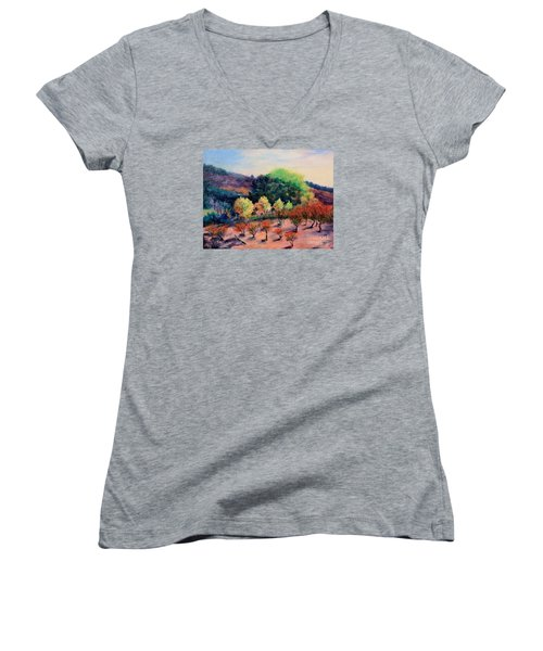Women's V-Neck T-Shirt (Junior Cut) featuring the painting Along The Highway by Marcia Dutton