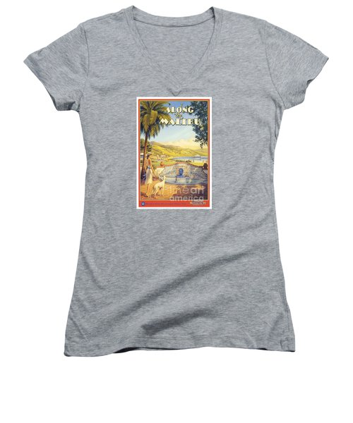 Along The Malibu Women's V-Neck T-Shirt (Junior Cut) by Nostalgic Prints