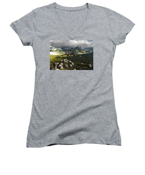 Along The Pinnacles Of Time Women's V-Neck
