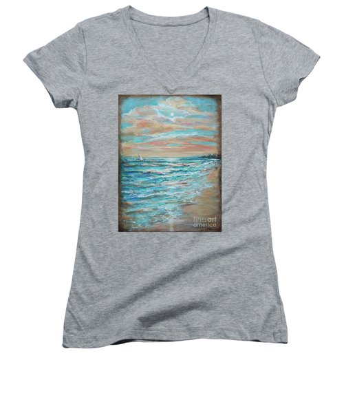 Along The Shore Women's V-Neck T-Shirt