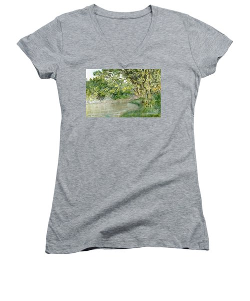 Women's V-Neck T-Shirt (Junior Cut) featuring the painting Along The Susquehanna by Melly Terpening