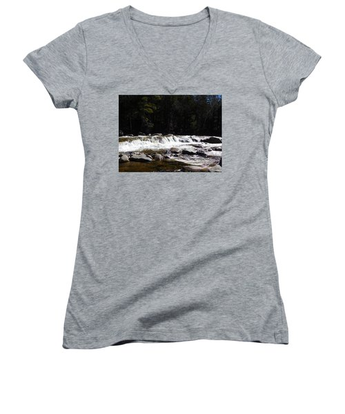 Along The Swift River Women's V-Neck T-Shirt (Junior Cut) by Catherine Gagne