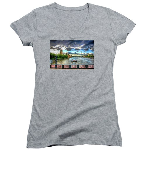 Along The Thames Women's V-Neck (Athletic Fit)
