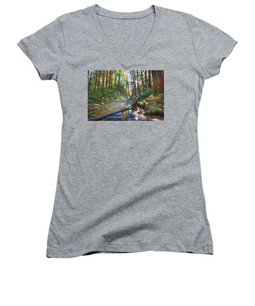 Women's V-Neck T-Shirt (Junior Cut) featuring the digital art Along The Trail In Georgia by Sharon Batdorf