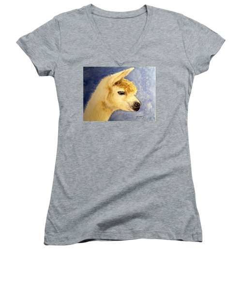 Women's V-Neck T-Shirt (Junior Cut) featuring the painting Alpaca Baby by Carol Grimes