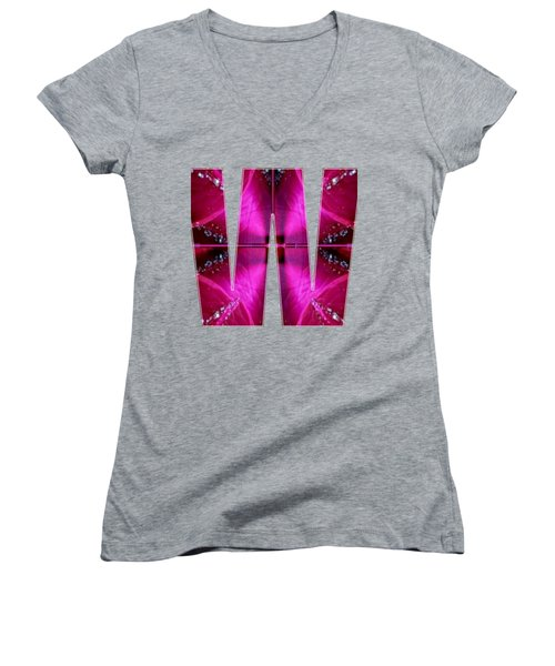 Alpha Art On Shirts Alphabets Initials   Shirts Jersey T-shirts V-neck Sports Tank Tops Navinjoshi  Women's V-Neck T-Shirt (Junior Cut) by Navin Joshi