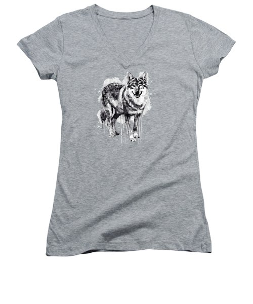 Alpha Wolf Black And White Women's V-Neck T-Shirt (Junior Cut) by Marian Voicu