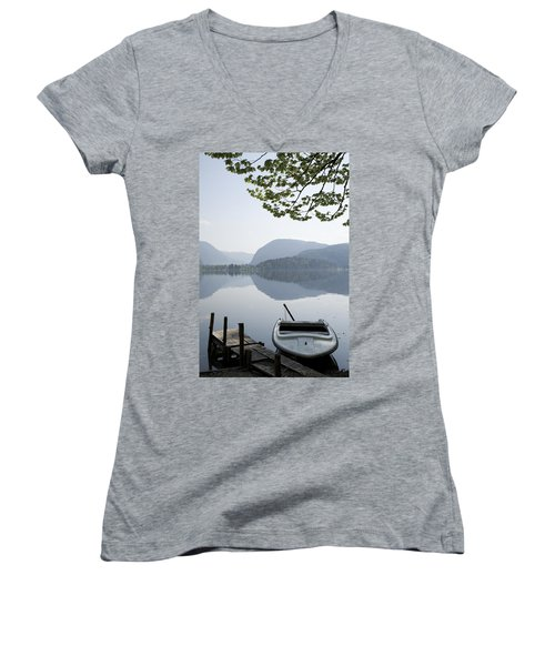 Women's V-Neck T-Shirt (Junior Cut) featuring the photograph Alpine Moods by Ian Middleton