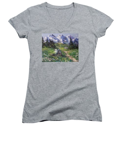 Alpine Splendor Women's V-Neck T-Shirt (Junior Cut) by Megan Walsh