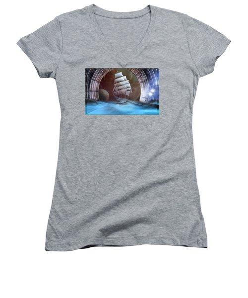 Alternate Perspectives Women's V-Neck T-Shirt (Junior Cut) by Mario Carini