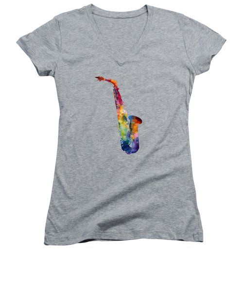 Women's V-Neck T-Shirt (Junior Cut) featuring the painting Alto Sax by Hailey E Herrera
