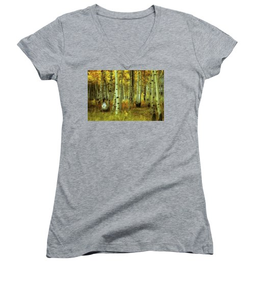 Women's V-Neck T-Shirt (Junior Cut) featuring the photograph Alvarado Autumn 1 by Marie Leslie
