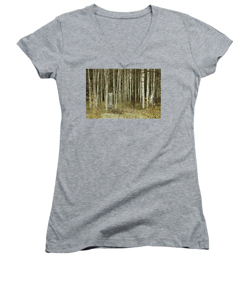Women's V-Neck T-Shirt (Junior Cut) featuring the photograph Alvarado Cemetery 42 by Marie Leslie
