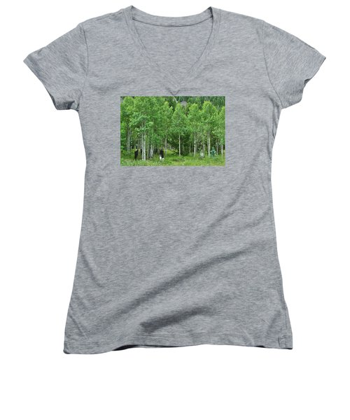 Women's V-Neck T-Shirt (Junior Cut) featuring the photograph Alvarado Summer by Marie Leslie