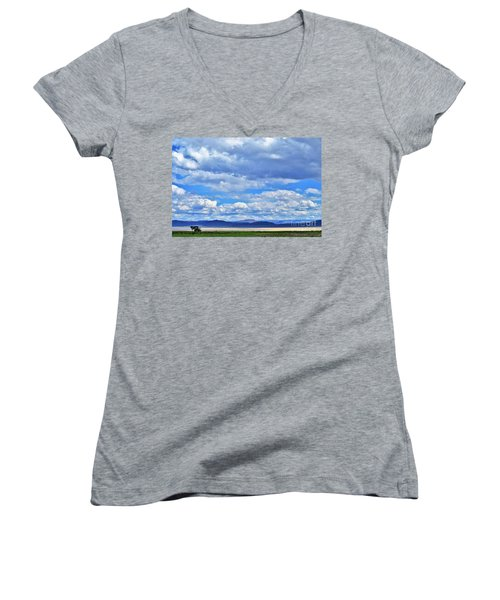 Sky Over Alvord Playa Women's V-Neck T-Shirt (Junior Cut) by Michele Penner