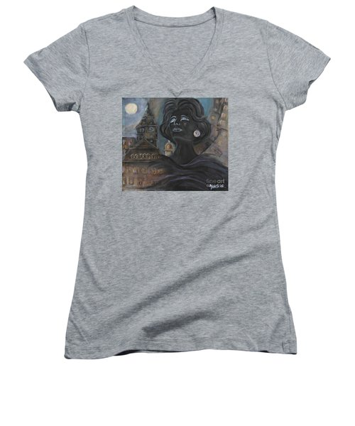 Women's V-Neck T-Shirt (Junior Cut) featuring the painting Amalia Rodrigues Tribute by AmaS Art