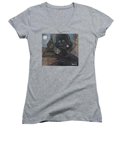 Amalia Rodrigues Tribute Women's V-Neck T-Shirt (Junior Cut) by AmaS Art