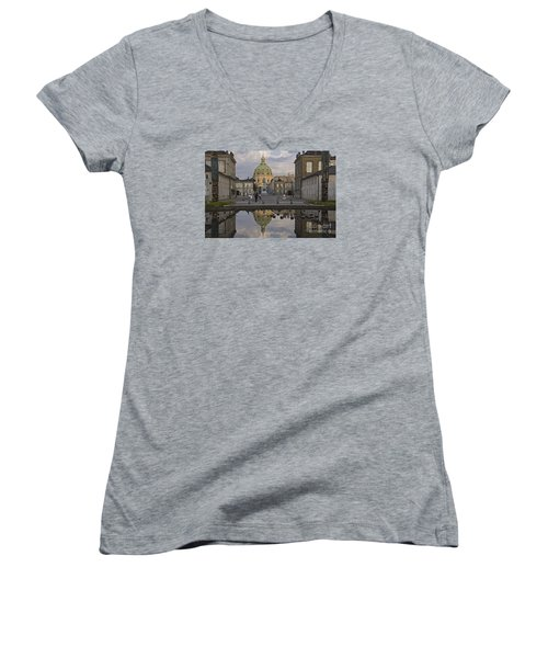 Women's V-Neck T-Shirt (Junior Cut) featuring the photograph Amalienborg Castle And The Marble Church by Inge Riis McDonald