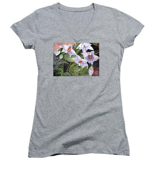 Amanda's Blue Potato Flowers Women's V-Neck T-Shirt (Junior Cut) by Sandy McIntire