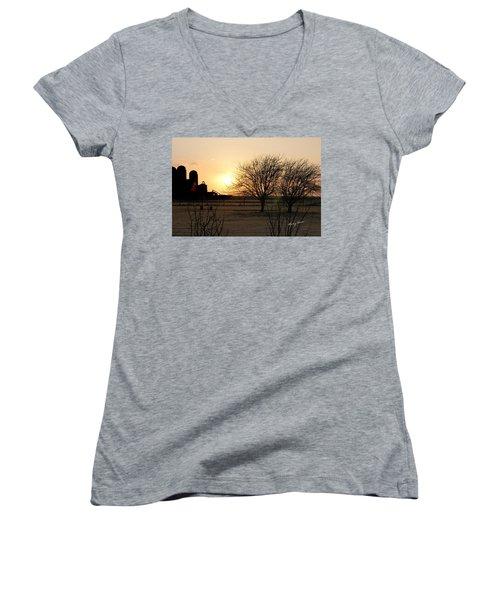 Amarillo Sunset Women's V-Neck T-Shirt (Junior Cut) by Ricky Dean