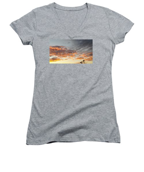 Fiery Sunset Women's V-Neck