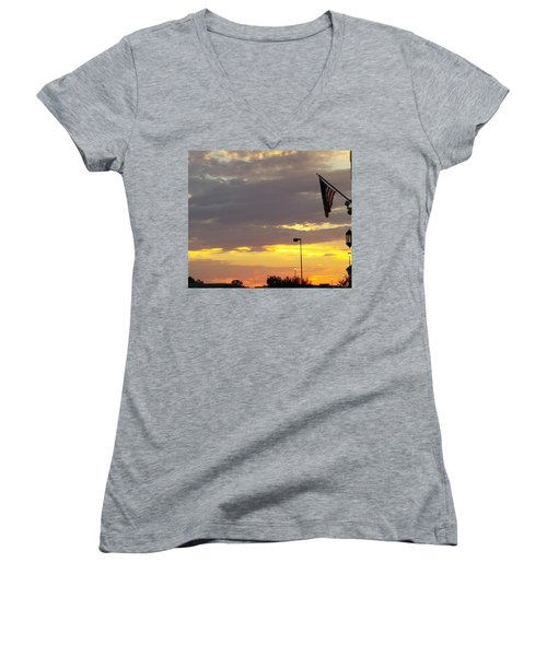 Patriotic Sunset Women's V-Neck