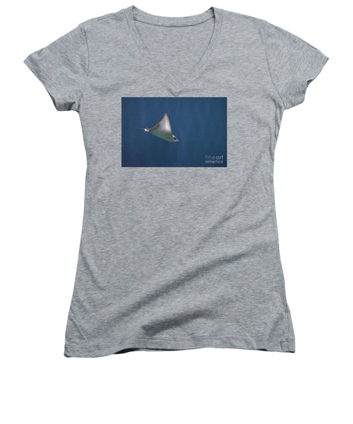 Amazing Stingray Underwater In The Deep Blue Sea  Women's V-Neck (Athletic Fit)