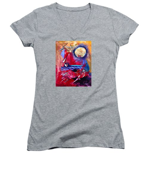 Ameeba 34-horse And Sailboat Women's V-Neck T-Shirt