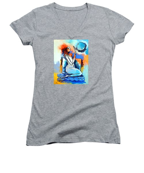 Ameeba- Nude Woman On Beach 5 Women's V-Neck T-Shirt