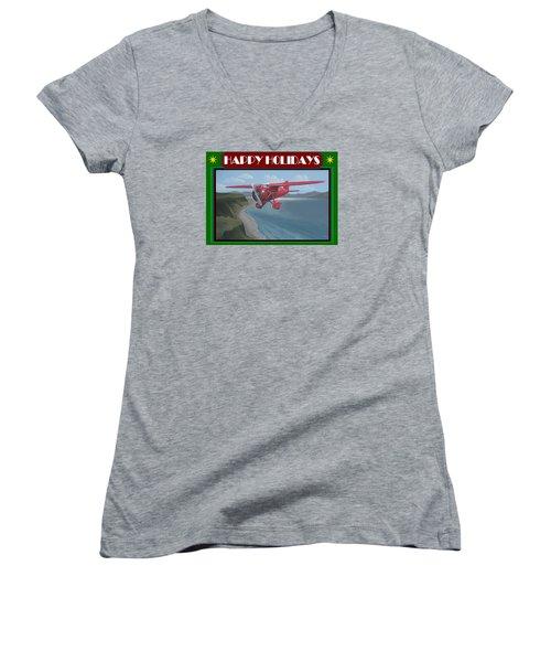 Women's V-Neck T-Shirt (Junior Cut) featuring the painting Amelia's Vega Christmas Card by Stuart Swartz