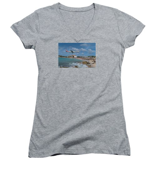 American Airlines Landing At St. Maarten Airport Women's V-Neck T-Shirt (Junior Cut) by David Gleeson