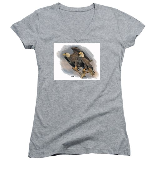 American Bald Eagle Pair Women's V-Neck (Athletic Fit)