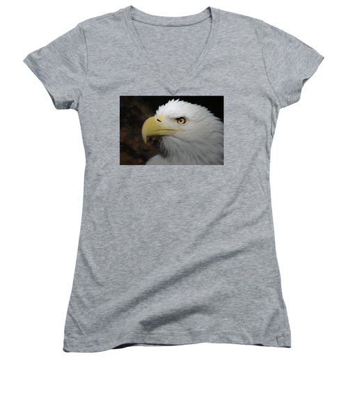 Women's V-Neck T-Shirt (Junior Cut) featuring the digital art American Bald Eagle Portrait 2 by Ernie Echols