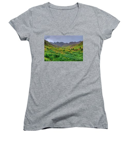 Women's V-Neck T-Shirt (Junior Cut) featuring the photograph American Basin Summer Storm by Teri Atkins Brown