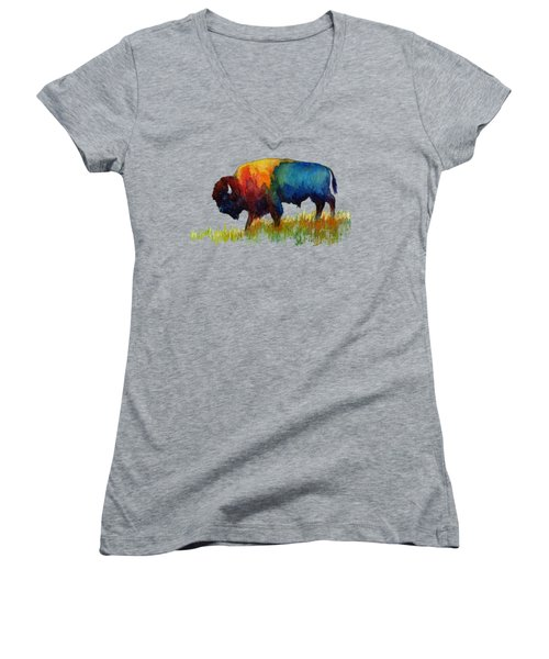 Women's V-Neck T-Shirt (Junior Cut) featuring the painting American Buffalo IIi by Hailey E Herrera