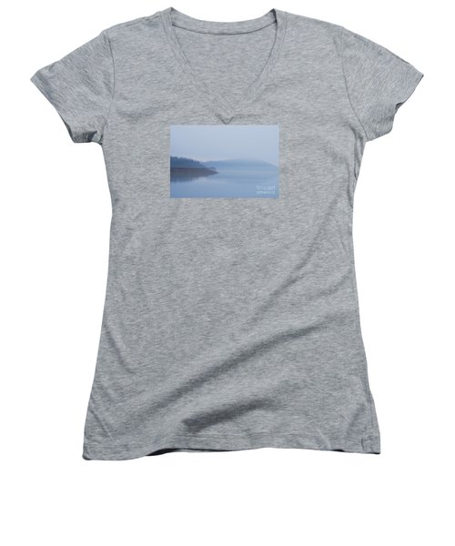 Women's V-Neck T-Shirt (Junior Cut) featuring the photograph American Coot In Misty Fog 20120316_40a by Tina Hopkins