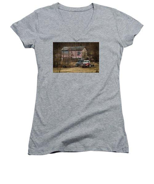 American Dream Women's V-Neck T-Shirt (Junior Cut) by Ray Congrove