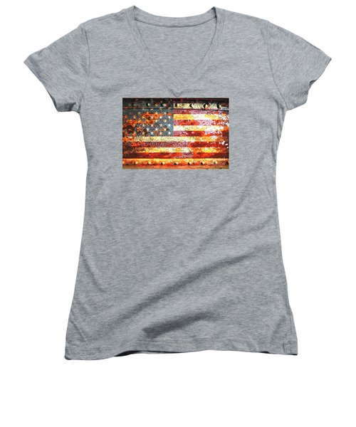 American Flag On Rusted Riveted Metal Door Women's V-Neck T-Shirt (Junior Cut) by M L C