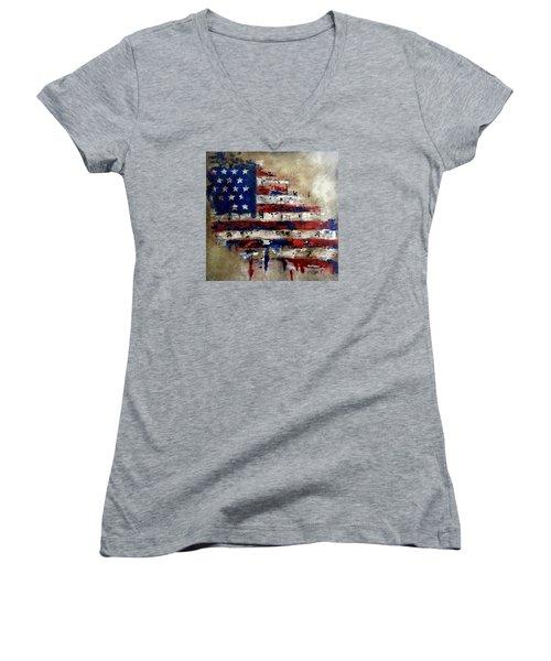 American Flag Women's V-Neck T-Shirt (Junior Cut) by Tom Fedro - Fidostudio
