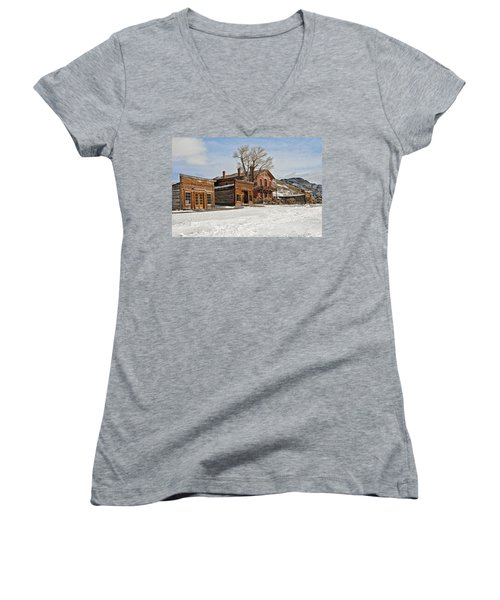 Women's V-Neck featuring the photograph American Ghost Town by Scott Read