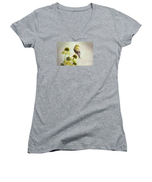 American Goldfinch On Coneflower Women's V-Neck (Athletic Fit)