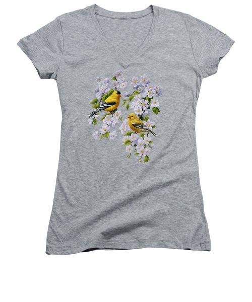 American Goldfinches And Apple Blossoms Women's V-Neck (Athletic Fit)