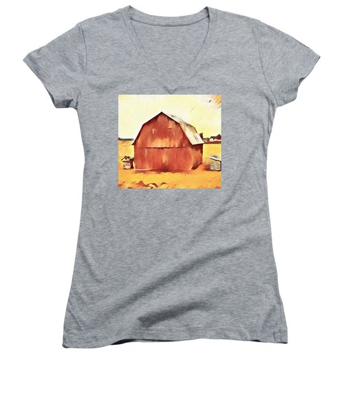 Women's V-Neck T-Shirt (Junior Cut) featuring the painting American Gothic Red Barn by Dan Sproul