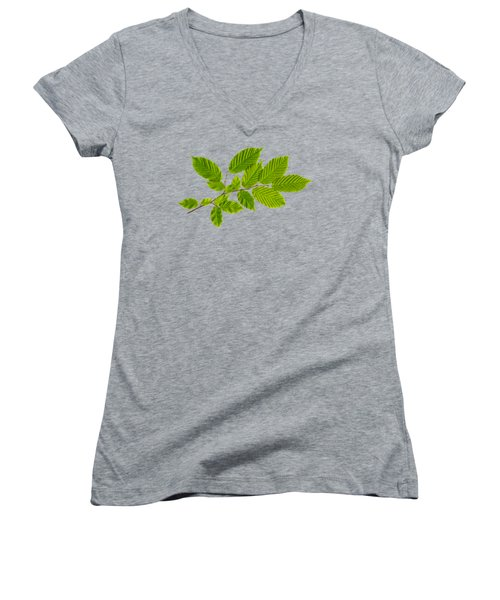 Women's V-Neck T-Shirt (Junior Cut) featuring the photograph American Hornbeam by Christina Rollo